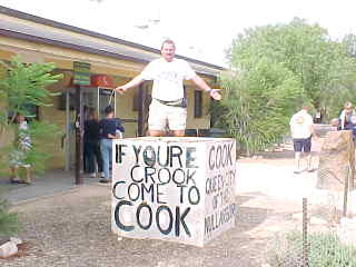 Sign on Box says: If youre [sic] crook come to cook