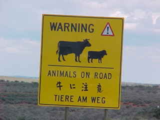 Sign reads: Warning! Animals on road [some oriental characters] Tiere am weg