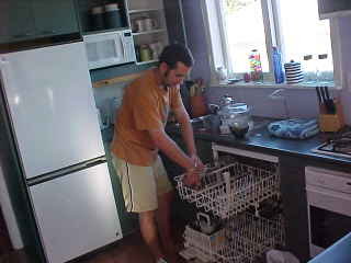 greg doing the dishes