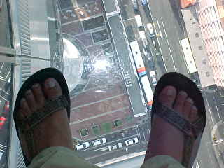 glass floor in Auckland Sky Tower