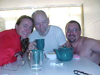 Group Photo.    SaraGrace, Dr Keenan and I at breakfast (New Zealand, The Travel Addicts, North Island)