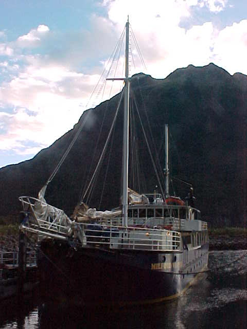 Our vessel for exploring Milford Sound overnight.   (New Zealand, The Travel Addicts, South Island)