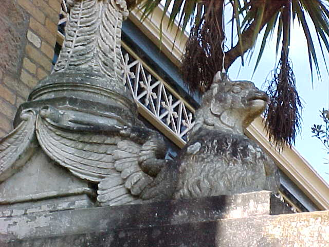 Gryphon statue.   (New Zealand, The Travel Addicts, South Island)