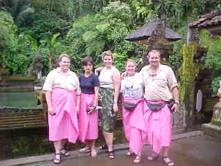 Rick Belgarde, Cecil Alegre, Kim Pichler, SGK and I in rented pink sarongs at the water temple