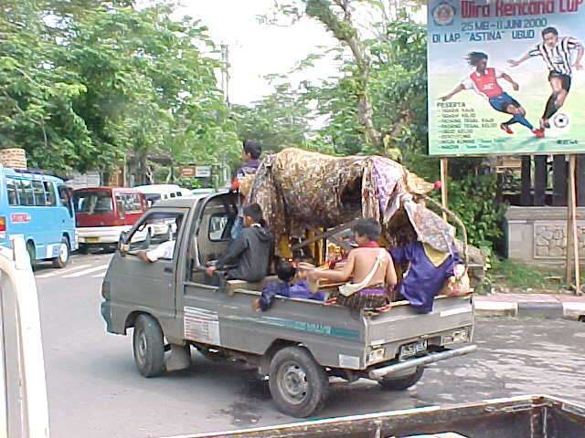 Balinese dragon costume in a van