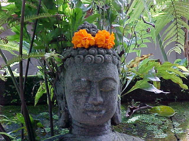 Krishna head with flowers