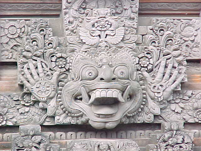 Hanuman's face on Honoman rd in Ubud