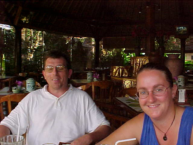 John, An Englishman whom we originally met on Gili Trawangan, and SGK enjoying a break in a Balinese bar-restaurant