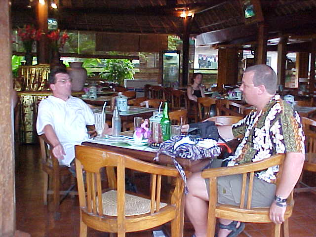 John And I relaxing at the Palace resturant in Ubud, Bali