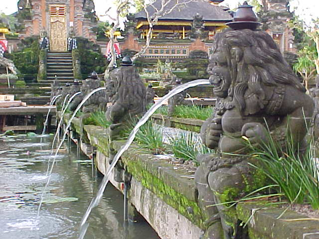 Lions spitting water at the Palace restaurant in Ubud, Bali