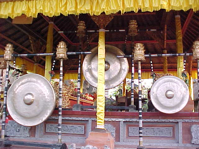 Big golden gongs in the Palace restaurant in Ubud, Bali