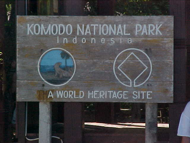 "Sign says: ""Komodo National Park Indonesia A World Heritage Site"".  Location:Komodo National Park, Komodo, Nusa Tenggara Timur, Indonesia (Indonesia, The Travel Addicts, Komodo)"