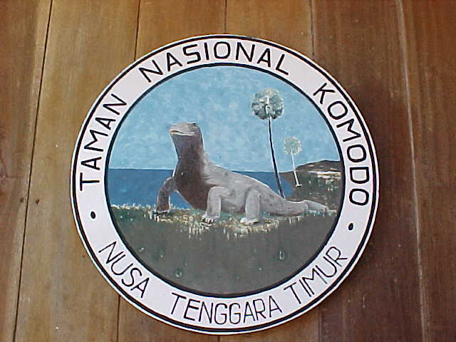 Sign says: Taman Nasional Komodo Nusa Tenggarra Timur.  Location:Komodo National Park, Komodo, Nusa Tenggara Timur, Indonesia (Indonesia, The Travel Addicts, Komodo)