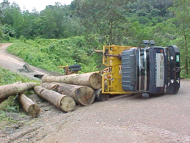 Rolled truck : This guy tried to cross a bridge that was out (Malaysia, The Travel Addicts)