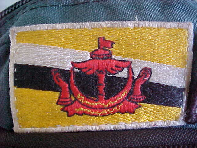 Brunei flag patch for our backpacks :  (Brunei, The Travel Addicts)