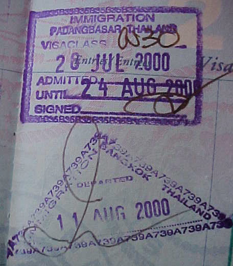 MVC-801S-Thai Entry and exit stamps. Padang Besar, Changwat Songkhla, Thailand: Our first visit to Thailand on this trip we entered Thailand on 26-Jul in Padang Basar on the Malaysian border and departed for Cambodia on 11-Aug (The Travel Addicts, Thailand)