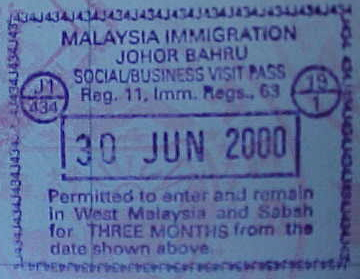 MVC-806S-Malaysian passport stamp. : Most westerners, Americans included get 3 months in Malaysia without a visa. (The Travel Addicts, Malaysia)