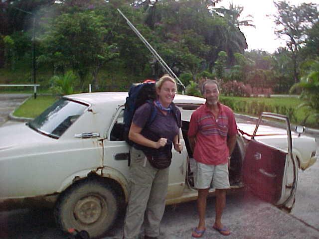 """MVC-858S-Our cab to Sepilok. SaraGrace Keenan """"SGK"""", and . Sepilok Orangutan Rehabilitation Centre, Sabah, Malaysia (The Travel Addicts, Malaysia)"""