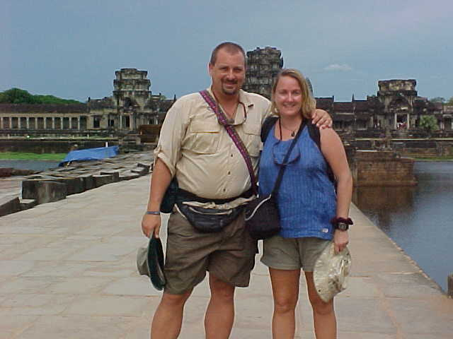 Us at the entrane to Angkor Wat :  (Cambodia, The Travel Addicts)