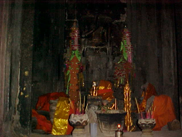 Buddhist shrine in the central tower :  (Cambodia, The Travel Addicts)