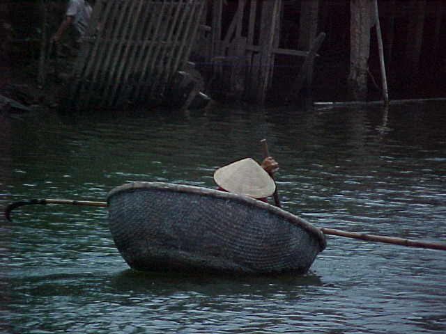 A coracle :  This small basket shaped boat is quite popular with the locals in Vietnam (Vietnam, The Travel Addicts)