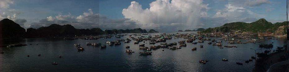 56970-Panorama of Cat Ba harbour :  (The Travel Addicts, Vietnam)