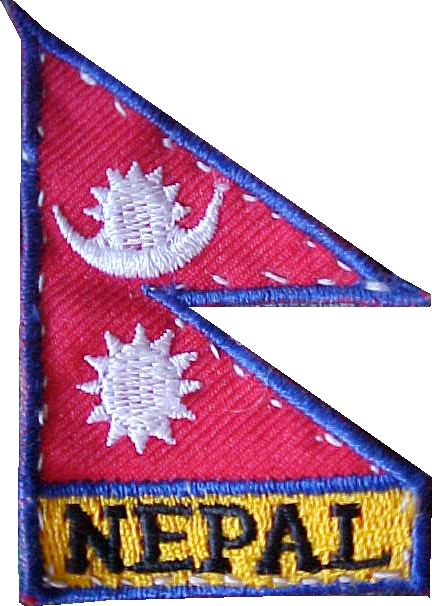 Patch for my backpack : The Nepali flag is one of the rare ones that is not rectangular in shape