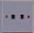 Nepali electric outlet : 220V European style 2 round prong outlet; usually mounted landscape