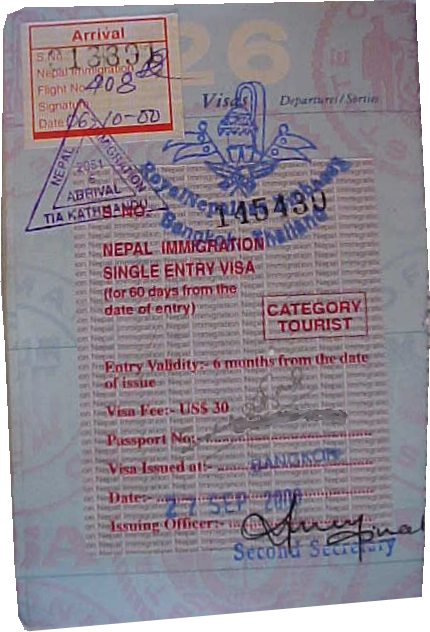 Nepali Visa : Nepalese Imigration required a visa from almost everyone