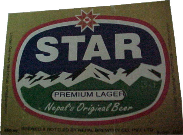 Star Lager label : Nepali beer includes: Star, Tiger (different from Singapore), Kingfisher, San Miguel and Tuborg and cost between 88-180NPR for a .5l bottle depending on how long a porter had to carry it on thier back!