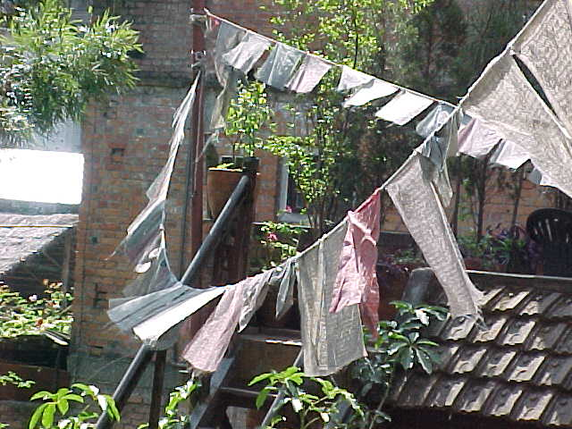 "Prayer flags :  At a resturant called ""New Orleans Blues"" (Nepal, The Travel Addicts)"