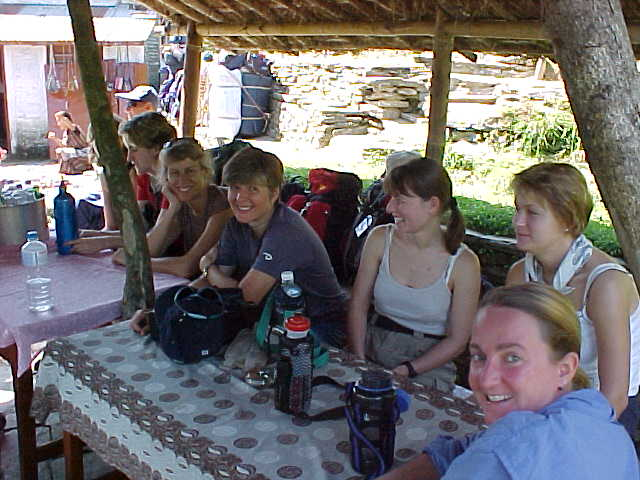 Lunchtime :  From right to left: SGK, Sara, Malaysia (AKA Mellissa Dellow), Susan, Sandy, Helena, Ken (Nepal, The Travel Addicts)