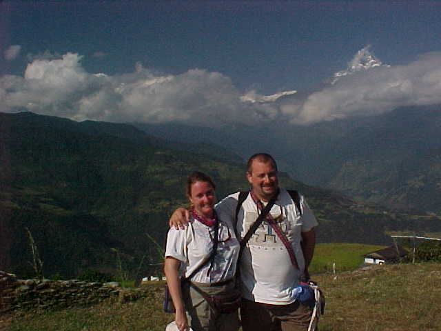 Us at the summit near Dhampus (Nepal, The Travel Addicts)