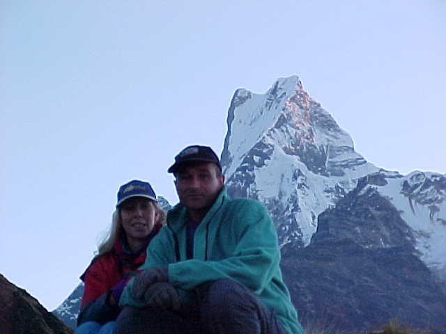 Kate and Duncan with Fishtail : (Machuopachure) (Nepal, The Travel Addicts)