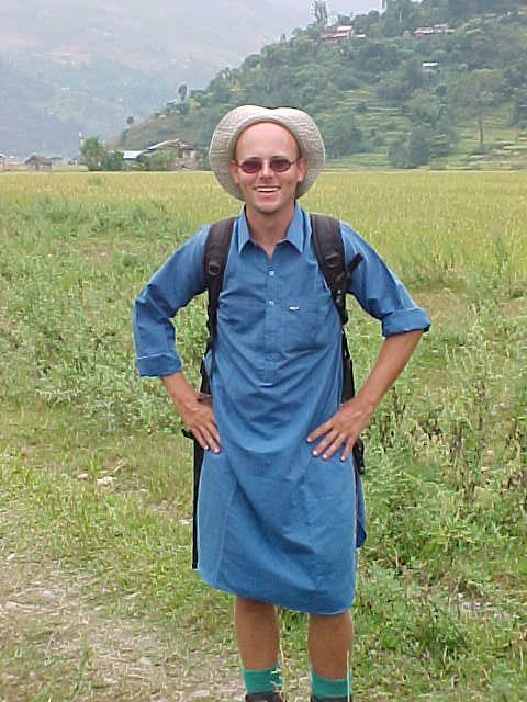 Richard in his nightshirt (Nepal, The Travel Addicts)