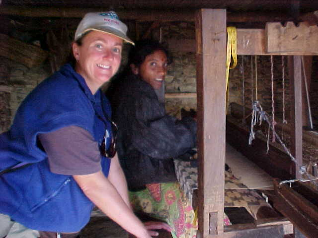 SGK and the loom lady that she bought a tablecloth from (Nepal, The Travel Addicts)