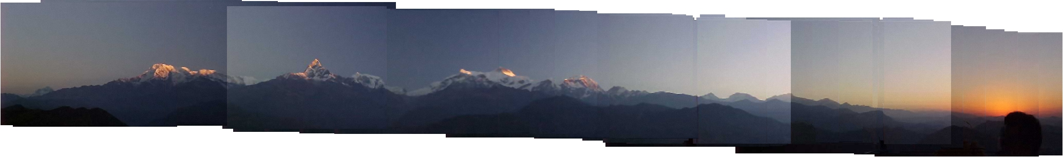 Panorama of the annapurna range from the top of Sarangkot