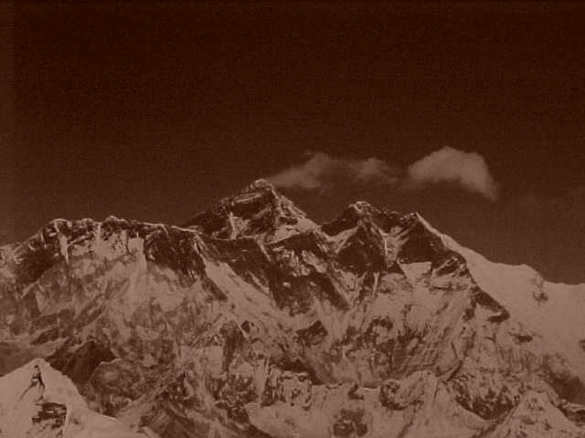 Everest and Lhotse in sepia (Nepal, The Travel Addicts)