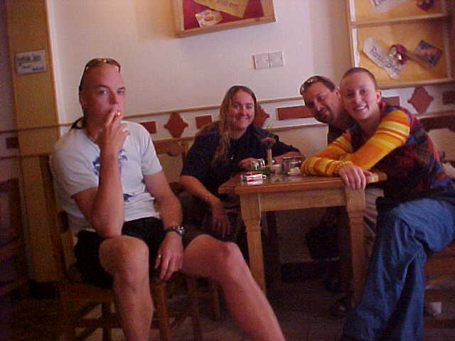 Mathias, SGK, Me and Isabella at breakfast (Nepal, The Travel Addicts)