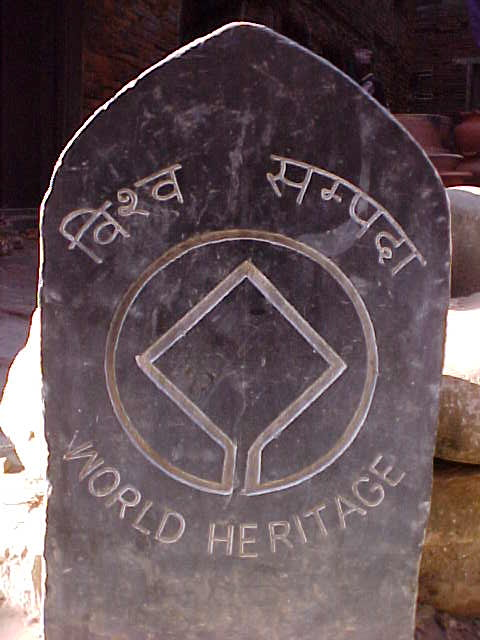 "It's a world heritage site : Stone says:""World Heritage"" (Nepal, The Travel Addicts)"