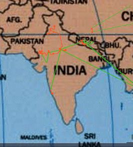Map of the Indian subcontinent with the land route of the Traveladdicts in red and air travel in green